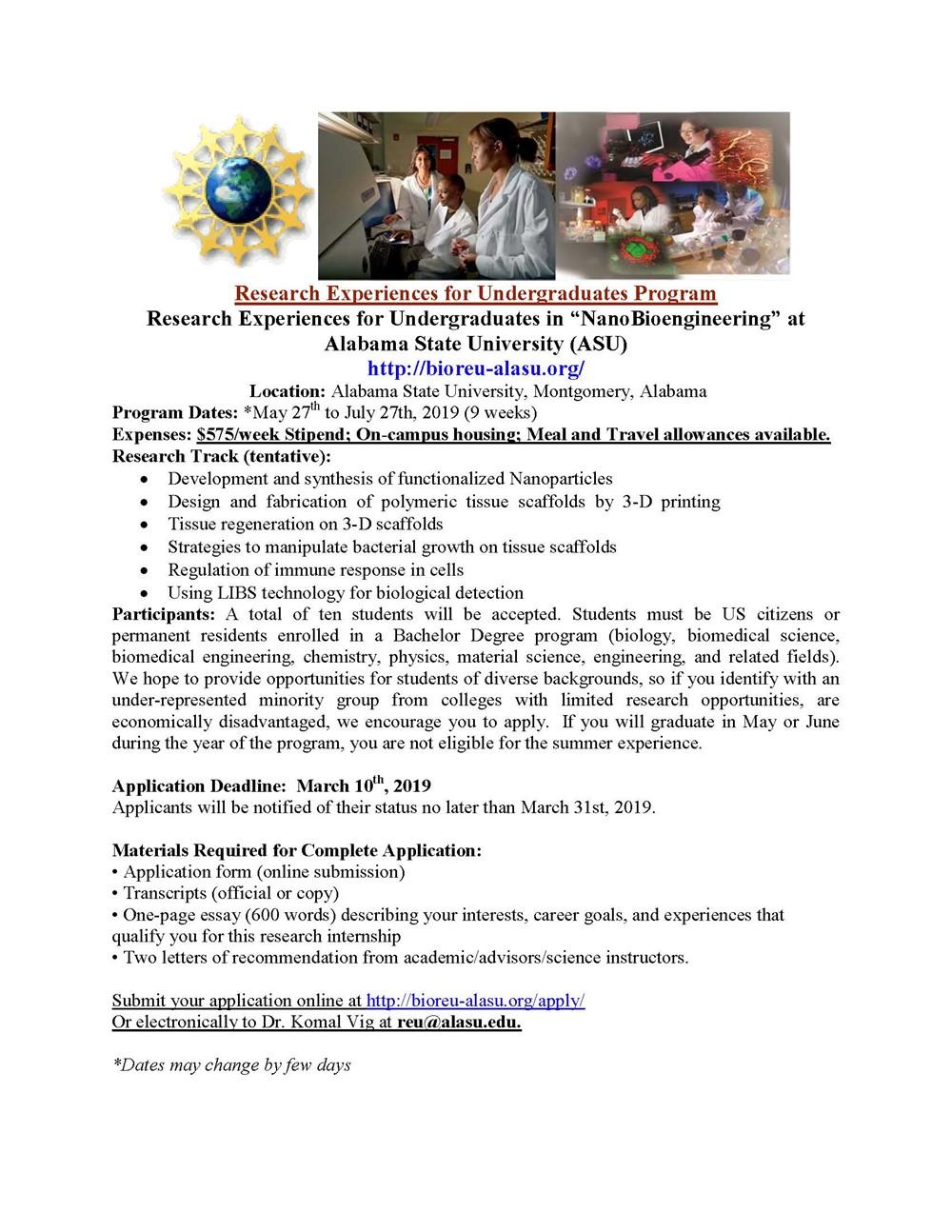 """Research Experiences for Undergraduates in """"NanoBioengineering"""" at ..."""